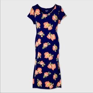 Blue floral cotton maternity midi dress